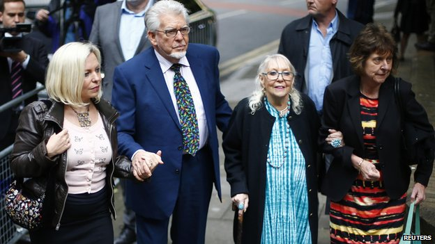 Rolf Harris arriving at Southwark Crown Court with his family on 29 May 2014