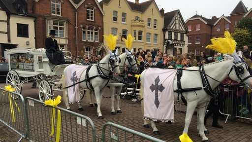 Horse-drawn hearse carrying the body of cancer fundraiser Stephen Sutton