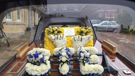 A floral display spelling out 'STE' led the funeral procession from Stephen's home in Burntwood, Staffordshire, to Lichfield Cathedral