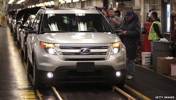 Ford Explorer on assembly line
