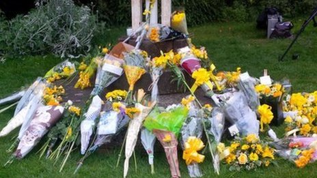 Dozens of bouquets were laid outside the cathedral for Stephen