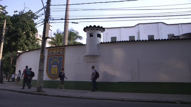 The headquarters of the military police where Caldas was held