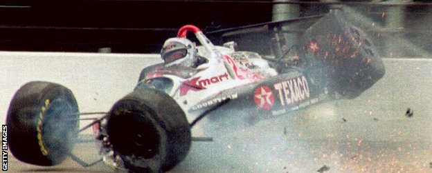 Mario Andretti crashes during the Indy 500 in 1992