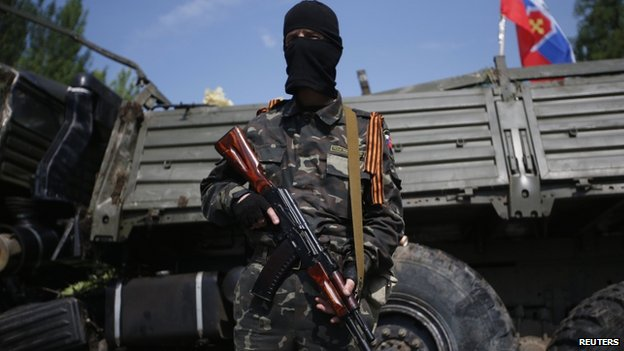 A pro-Russian gunman near Donetsk airport. Photo: 29 May 2014