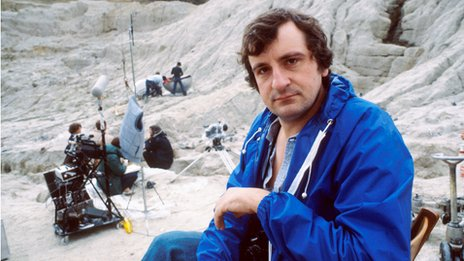 Douglas Adams on the set of The Hitchhiker's Guide to the Galaxy in 1980