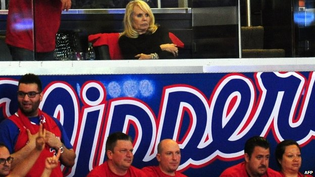 Shelly Sterling, wife of Los Angeles Clippers owner Donald Sterling, watches a Clippers game
