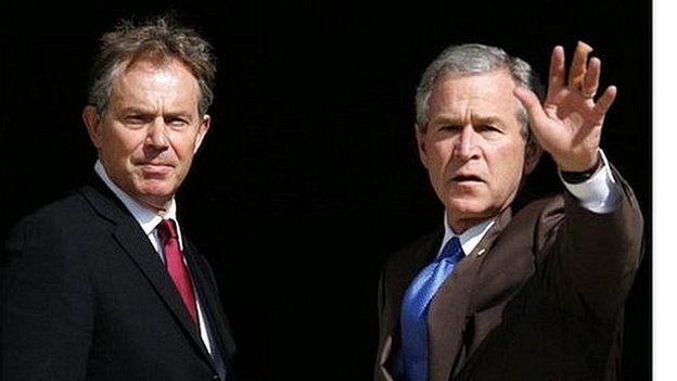 Tony Blair with President George W Bush