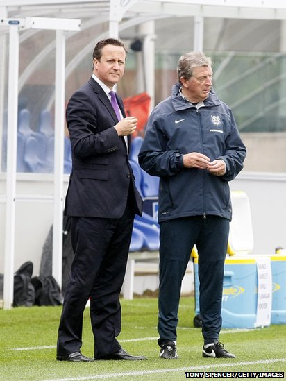 UK Prime Minister David Cameron with England football coach Roy Hodgson