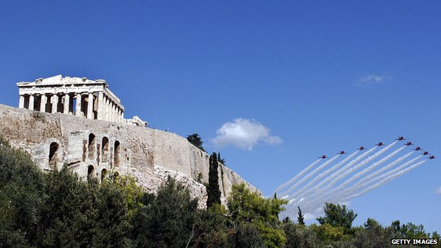Red Arrows flying over the Acropolis
