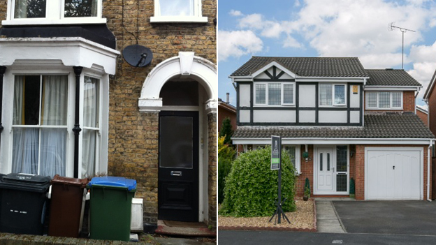 Homes for sale in Hazelwood Road, Walthamstow (left) and Whitley (right)