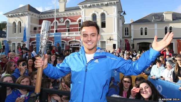Tom Daley brought the baton back to the British Isles