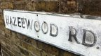 Hazelwood Road sign