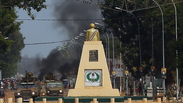 Smoke from barricades in Bangui. 29 May 2014