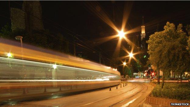 Fast train at night