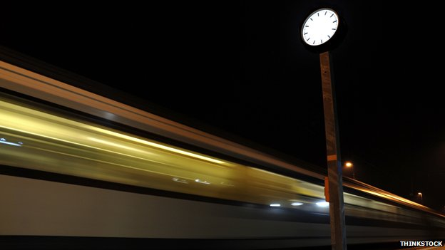 Train moving fast at night