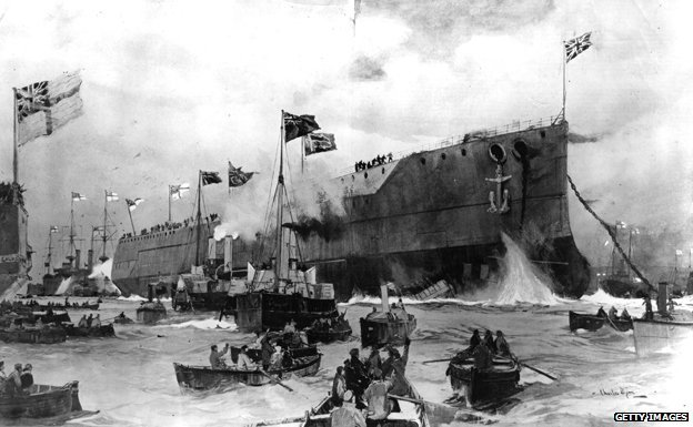 17th February 1906: The HMS 'Dreadnought' at its launch by the King at Portsmouth.