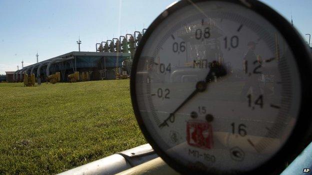 A gas pressure gauge