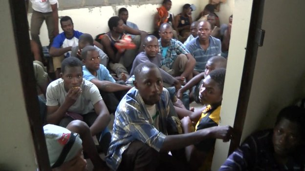 Illegal migrants in Misrata jail cell