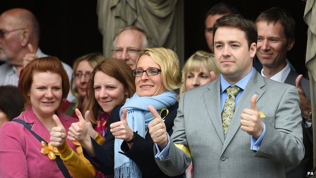 Comedian Jason Manford (right) and others