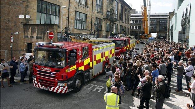 Fire crews leave the scene