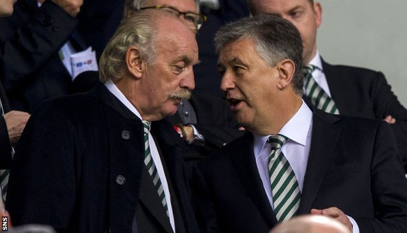 Celtic's majority shareholder Dermot Desmond and chief executive Peter Lawwell