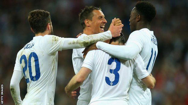 England players celebrate a goal in the 3-0 friendly win against Peru