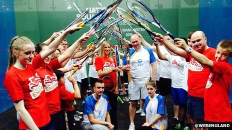 The baton bearers at the National Squash Centre