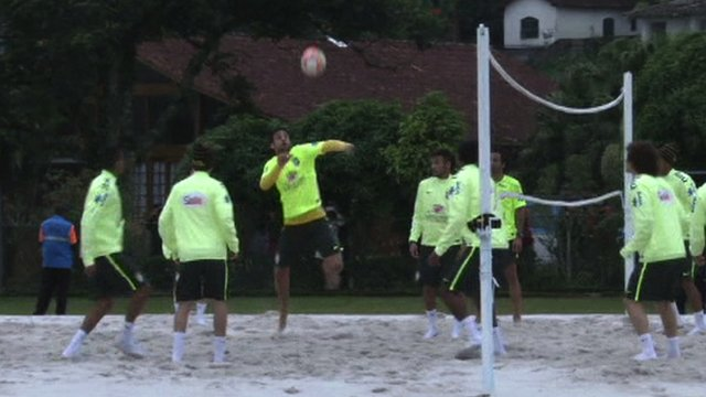 Brazil stars show off their footvolley skills