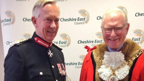 Lord Lieutenant David Briggs and Cheshire East Mayor, Wesley Fitzgerald