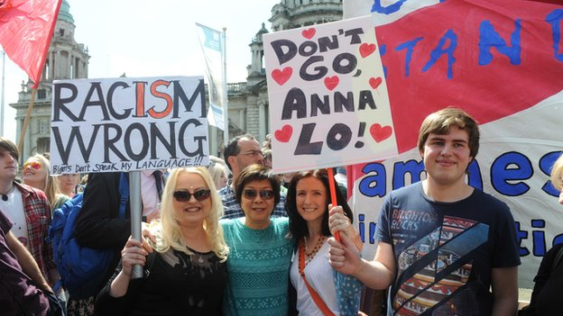 The Belfast rally was addressed by Alliance MLA Anna Lo