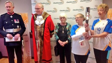 Lord Lieutenant David Briggs and Cheshire East Mayor, Wesley Fitzgerald with the baton bearers