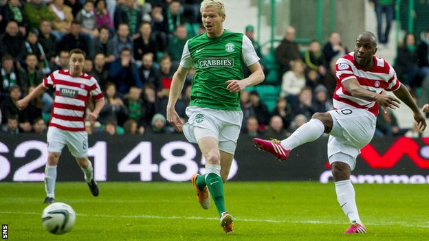 Jason Scotland scores for Hamilton in the Premiership play-off final win over Hibernian