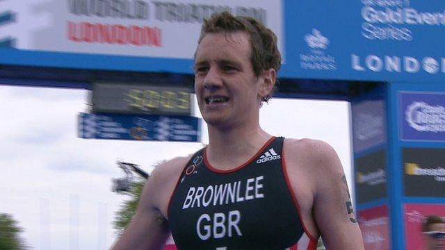 Britain's Alistair Brownlee finishing fourth in London triathlon