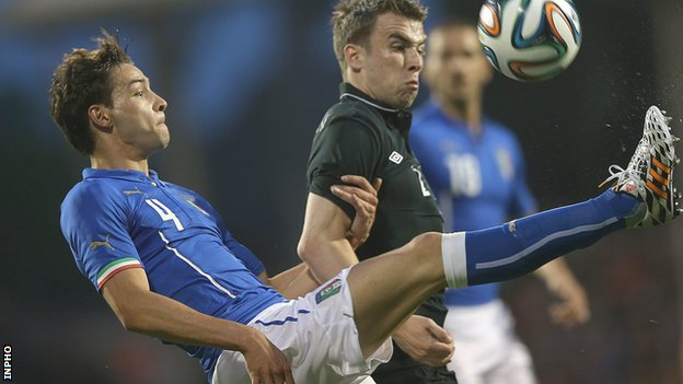 Italy's Mattia De Sciglio challenges Seamus Coleman