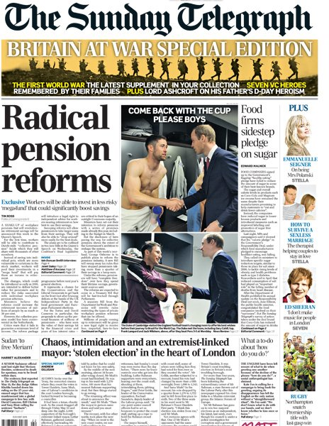 Sunday Telegraph front
