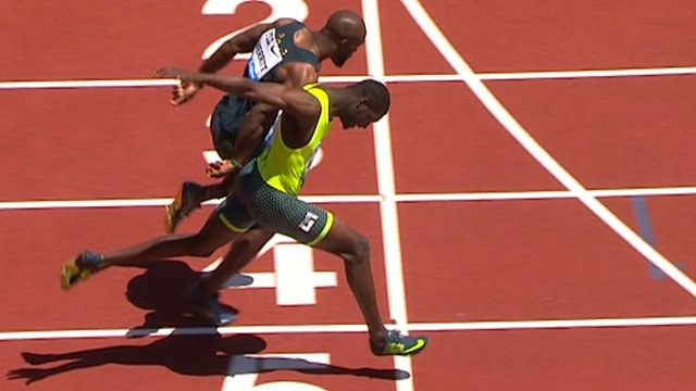 Kirani James beats LaShawn Merritt in 400 metre photo finish.
