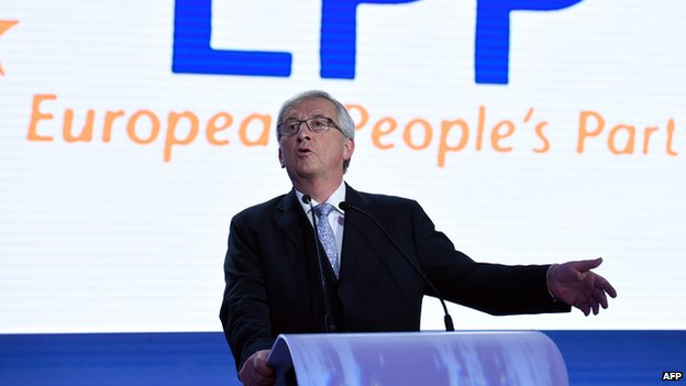 Jean-Claude Juncker delivers a speech during the announcement of the European elections results on 25 May 2014 at the European Parliament in Brussels.