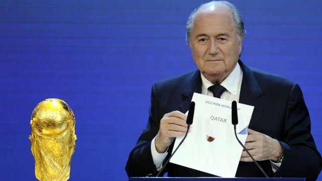 Sepp Blatter announcing Qatar as the hosts of the 2022 World Cup