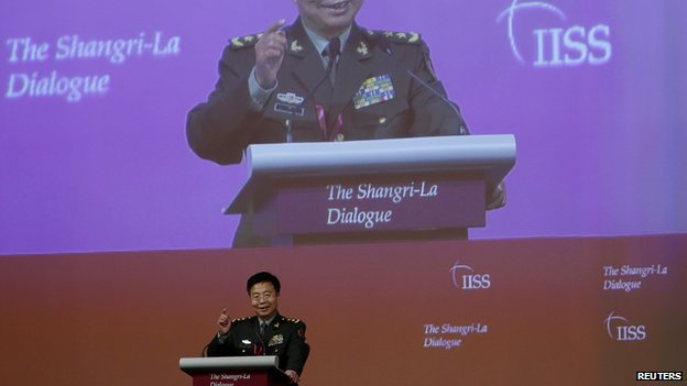 Deputy chief of staff of the Chinese Army Lieutenant-General Wang Guanzhong in Singapore on 1 June 2014