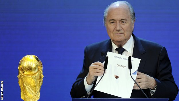 Fifa president Sepp Blatter reveals Qatar as the winner of the 2022 World Cup