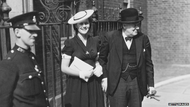 Winston Churchill with Mary Soames outside 10 Downing Street, London 3 July 1942.