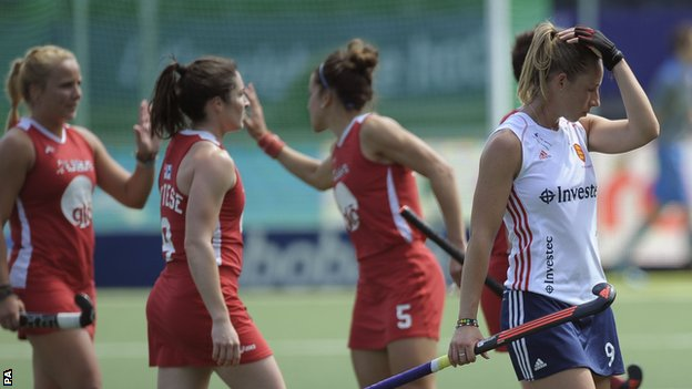 """England""""s Susannah Townsend (right) walks off after defeat against USA"""
