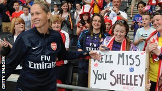 Arsenal fans display a banner for Shelley Kerr
