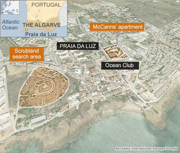 Map of the scrubland search area, Praia da Luz, Portugal