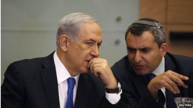 Israeli Prime Minister Benjamin Netanyahu (left) and Zeev Elkin (02/06/14)