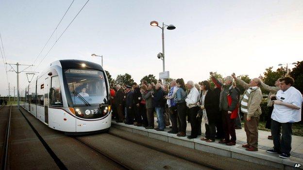 Tram on track