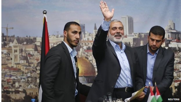 Ismail Haniya waving as he leaves office (02/06/14)