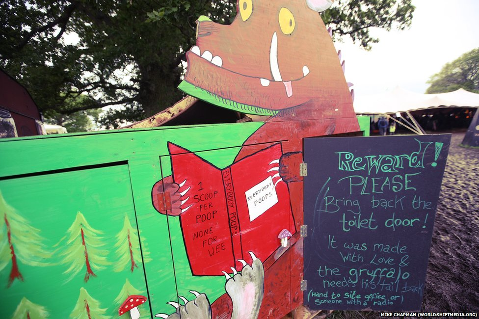 "Every public toilet at the festival was a ""compost loo"" - even the children's, at the ninth annual Sunrise Celebration, in Piercefield Park"