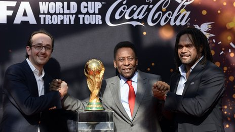 President of Coca-Cola France, Imad Benmoussa, Brazilian football legend Pele and former French international football player Christian Karembeu