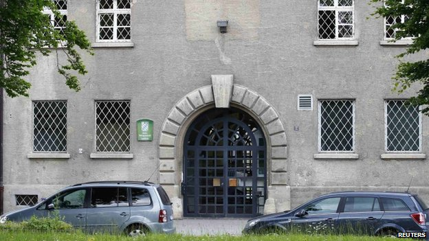 Cars parked outside Landsberg am Lech prison